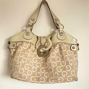 G by Guess beige monogram shoulder handbag
